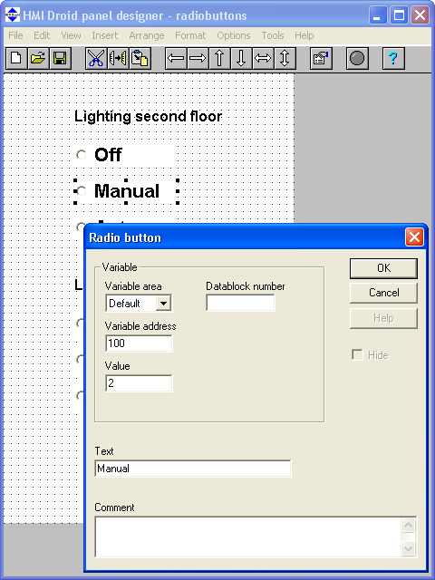 HMI Droid Studio Radio button example