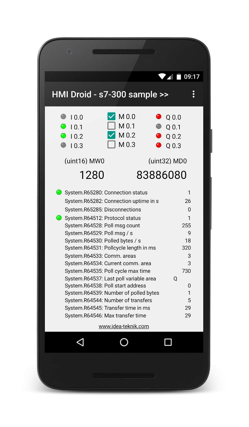 HMI Droid - Siemens S7-300 sample