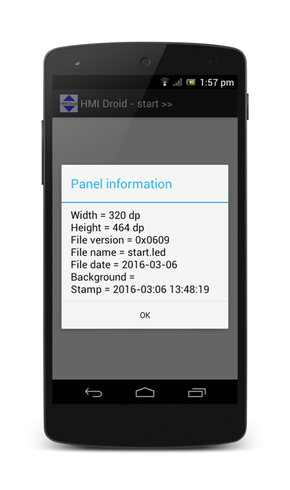HMI Droid Panel Information