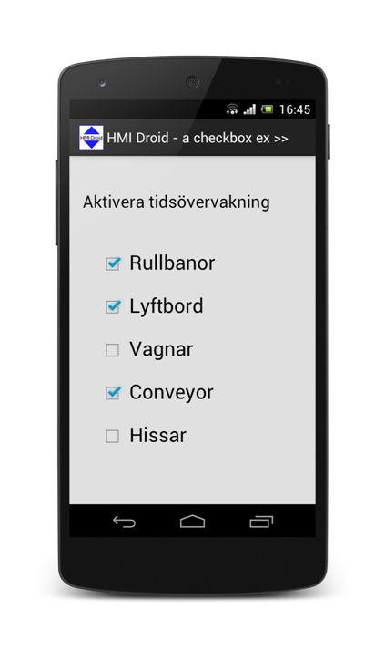 HMI android checkbox