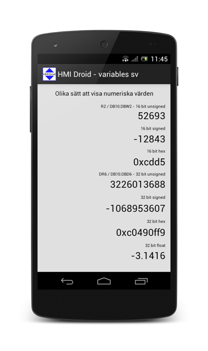 HMI android variabler