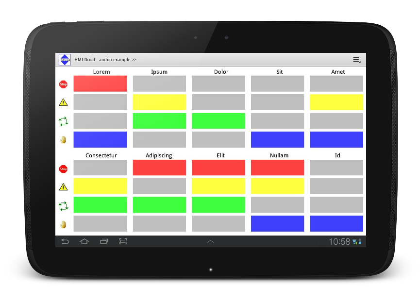 andon HMI android app tablet touch droid SCADA