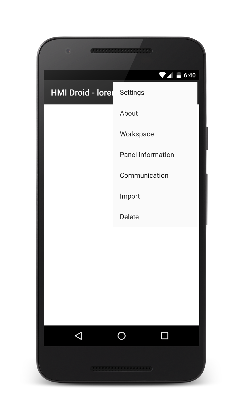 HMI Droid - main menu