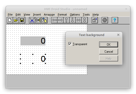 HMI Droid Studio - Text background