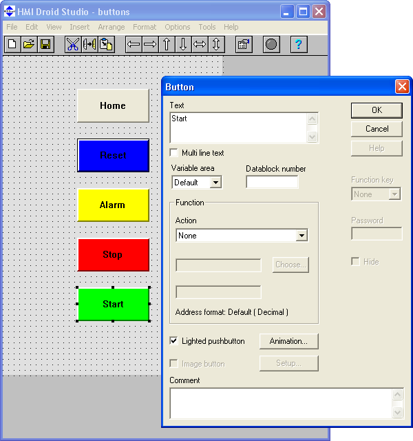 HMI Droid Studio - Button dialog