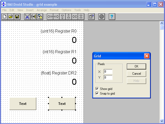 HMI Droid Studio - Grid example